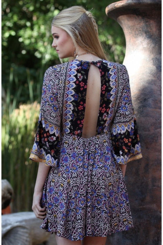 Angie Aubergine Slit Front Open Back Bell Sleeve Boho Dress B4X20-A583