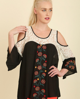 Umgee black embroidered top with lace