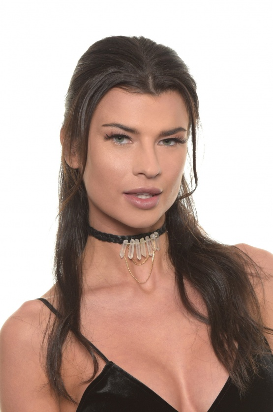 """Rich Traditions"" Choker Genuine Black Leather & Quartz Crystals"