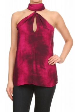 Ariella Magenta Tie Dyed Keyhole Front Choker Neck Top T1042-P224