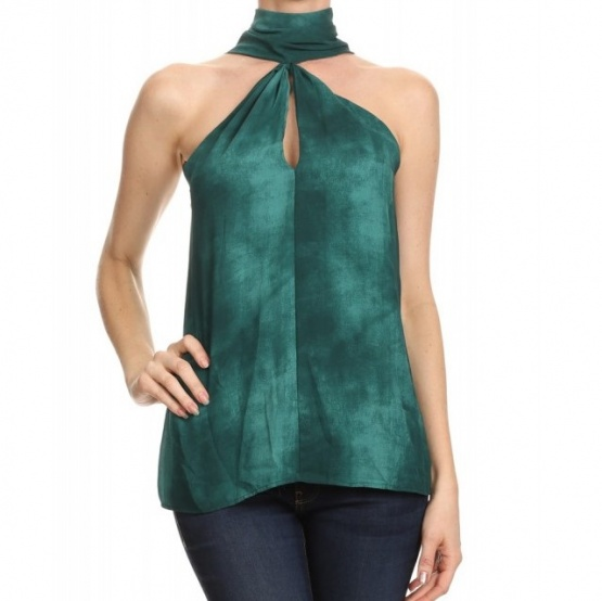 Ariella Green Tie Dyed Keyhole Front Choker Neck Top T1042-P224