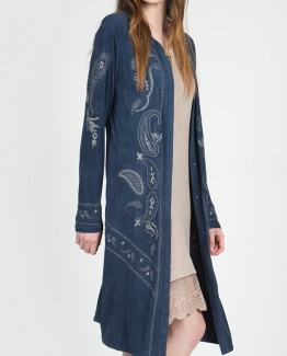 Monoreno Blue Embroidered Faux Suede Coat6 (2)