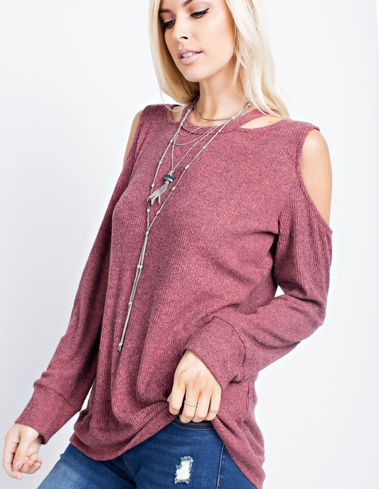 143 Story Women's Dark Mauve Long Sleeve Cold Shoulder Cut Out Top
