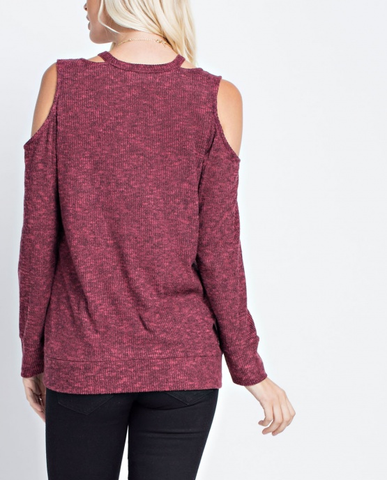Women's 143 Story Burgundy Cold Shoulder Top Cut Out Neck