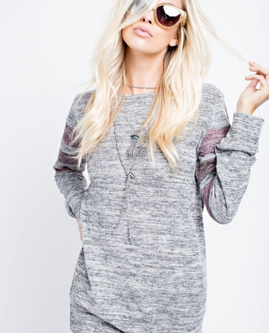 143 Story Women's Gray Color Block Long Sleeve Top