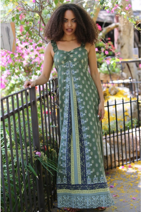 Angie Olive Green Border Print Bohemian Maxi Dress B4Z69-FN45