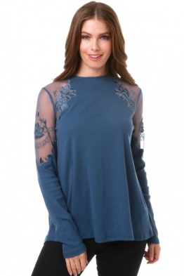 Sweet Claire Blue Mock Neck Lace Mesh Long Sleeve Top STK1517