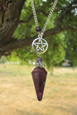 Genuine Amethyst Silver Pentacle Pendulum Necklace WN11