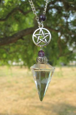 Genuine Clear Quartz Silver Pentacle Pendulum Necklace