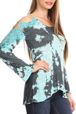 T Party Aqua Tie Dyed Crocheted Cold Shoulder Top THSPR3214