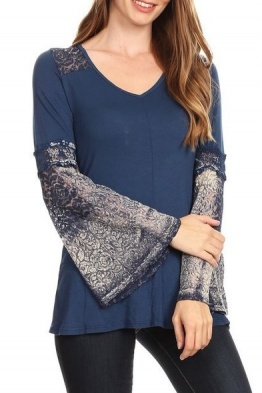 T Party Navy Blue Lace Bell Sleeve Top TMC3507