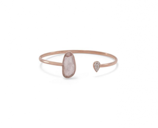 14 Karat Rose Gold Plated .925 Sterling Silver Rose Quartz and CZ Open Cuff Bracelet