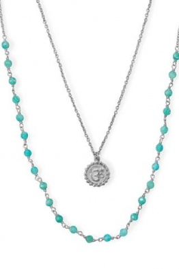 Sterling Silver Amazonite Om Necklace 34321