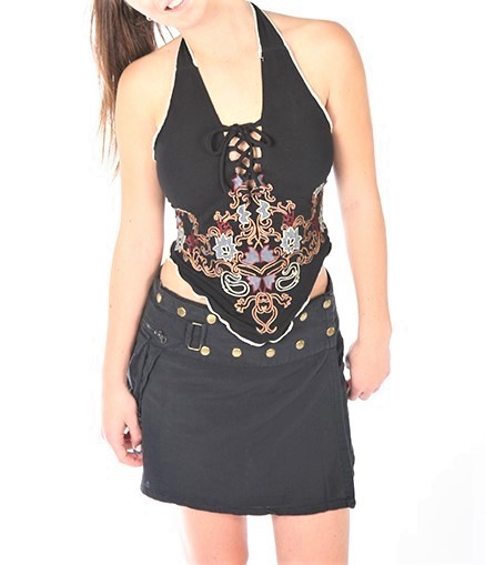 Jayli Black Cotton Lace Up Front Embroidered Bohemian Halter Top PFS19-14