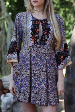 Angie Purple Slit Front Open Back Bell Sleeve Boho Dress B4X20-A583