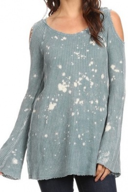 T-party light blue bleach splatter thermal hoodie tunic top PCW39969