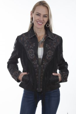 Vintage Black Embroidered Fringe Suede Jacket L1005