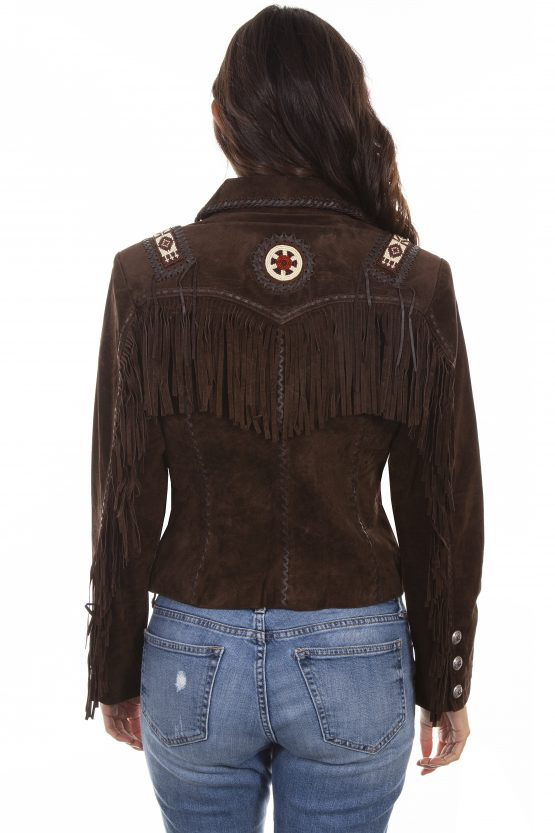 Scully Expresso Suede Beaded Fringed Jacket L758