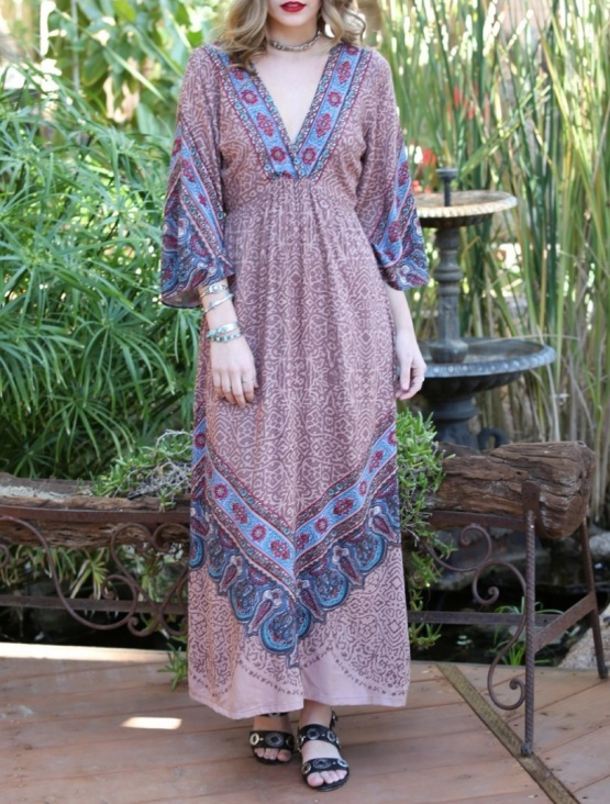 Angie Cinnamon Deep V Neck Bohemian Maxi Dress B4X74-A578