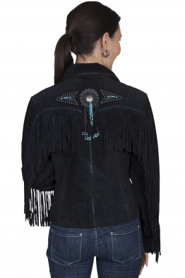 Black Suede Beaded Fringed Jacket L152
