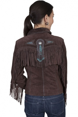 Chocolate Suede Beaded Fringed Jacket L152