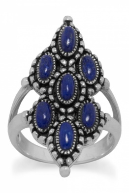.925 Sterling Silver Lapis Statement Ring