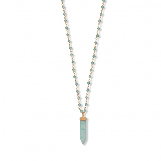"Extra Long 40"" Apatite and Amazonite Crystal Necklace"