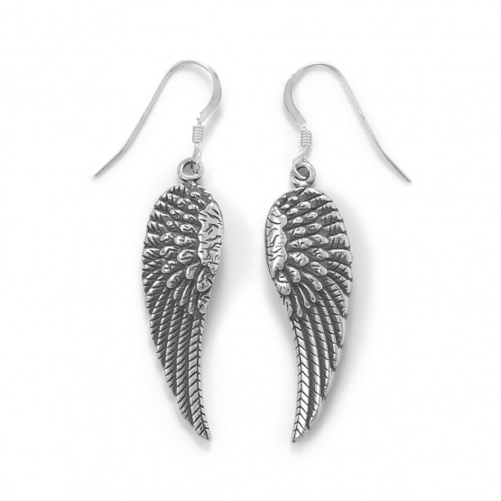Oxidized .925 Sterling Silver Angel Wing French Wire Earrings