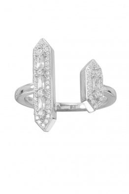 Glitzy .925 Sterling Silver CZ Double Bar Ring