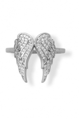 .925 Sterling Silver CZ Angel Wings Ring