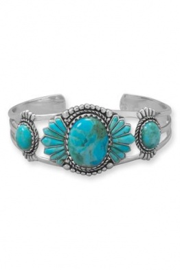 .925 Oxidized Sterling Silver Turquoise Southwest Style Cuff Bracelet