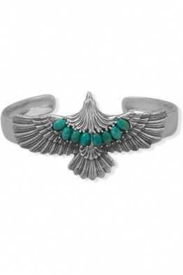 .925 Sterling Silver Oxidized Turquoise Eagle Cuff Bracelet
